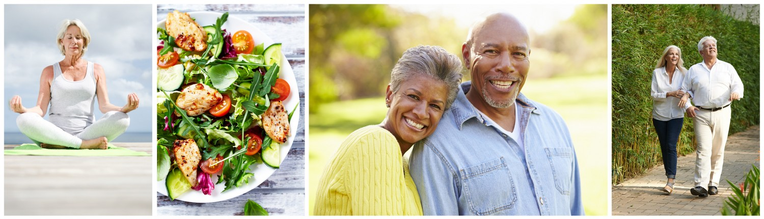 series of four photos: senior woman in meditation pose, plate of salad, senior couple at park, senior couple walking on sidewalk
