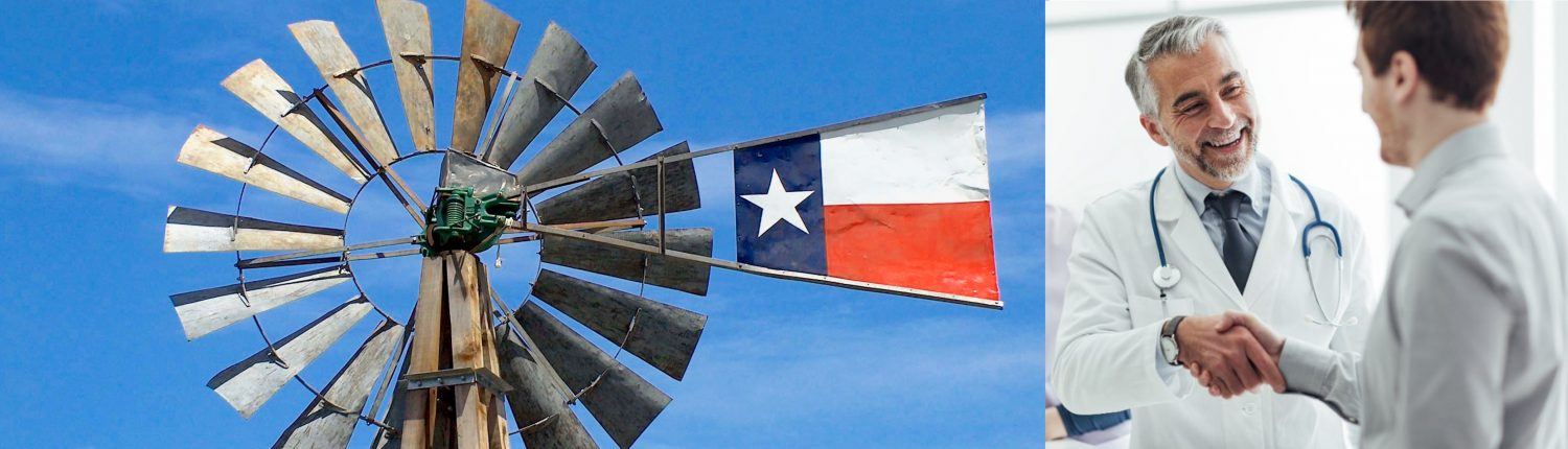 photo of windmill with Texas flag next to photo of a physician shaking hands with young man
